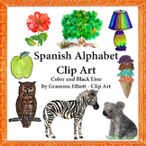 Spanish Alphabet Words Clip Art in Color and Black LIne 300 DPi