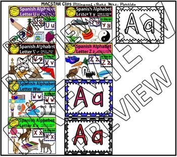 Spanish Alphabet Clip Art  MEGA BUNDLE  Clip Arts Personal and Commercial Use