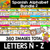 Spanish Alphabet Clipart Set - Bundle 2 - Letters from Ñ to Z
