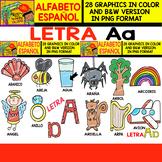 Spanish Alphabet Clipart Set - Letter A - 28 Items