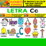 Spanish Alphabet Clipart Set - Letter C - 28 Items