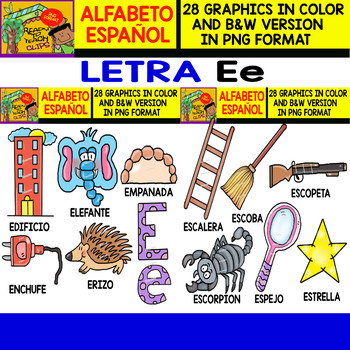 Spanish Alphabet Clipart Set   Letter E   28 Items by Ready to