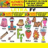 Spanish Alphabet Clipart Set - Letter F - 28 Items