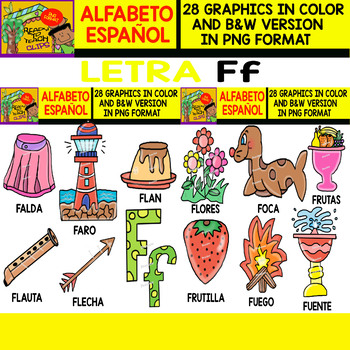 Spanish Alphabet Clipart Set - Letter F - 28 Items
