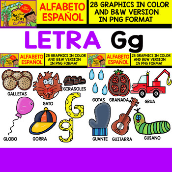 Spanish Alphabet Clipart Set - Letter G - 28 Items