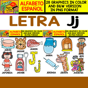 Spanish Alphabet Clipart Set   Letter J   28 Items by Ready to