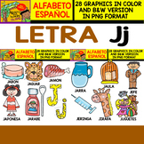 Spanish Alphabet Clipart Set - Letter J - 28 Items