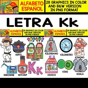 Spanish Alphabet Clipart Set - Letter K
