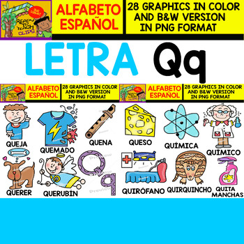 Spanish Alphabet Clipart Set - Letter Q - 28 Items