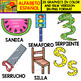Spanish Alphabet Clipart Set - Letter S - 28 Items