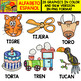 Spanish Alphabet Clipart Set - Letter T - 28 Items