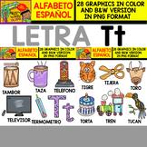 Spanish Alphabet Clipart Set - Letter T - 28 Items