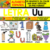 Spanish Alphabet Clipart Set - Letter U - 28 Items