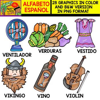 Spanish Alphabet Clipart Set - Letter V - 28 Items