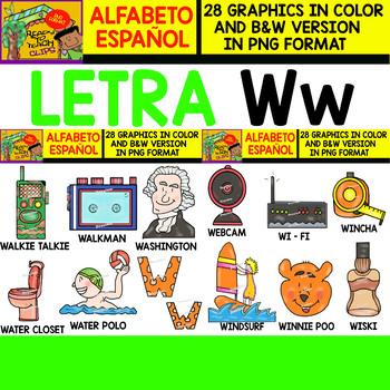 Spanish Alphabet Clipart Set - Letter W - 28 Items