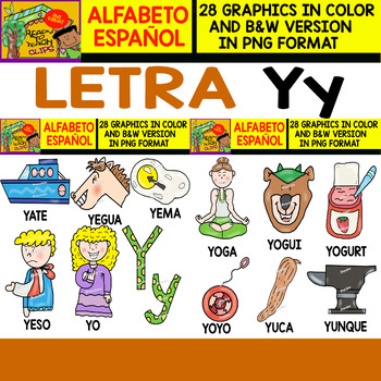 Spanish Alphabet Clipart Set   Letter Y   28 Items by Ready to