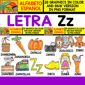 Spanish Alphabet Clipart Set - Letter Z - 28 Items