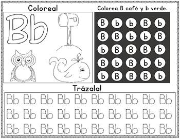 Spanish Alphabet:  Colorea, Busca, y Traza Hojas de practica para kindergarten