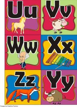 Spanish Alphabet Colorful Flashcards
