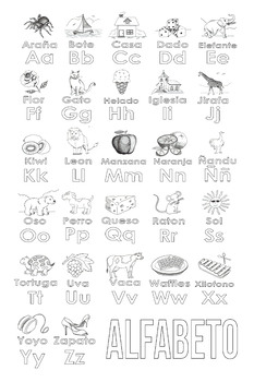 Spanish Alphabet Coloring Page