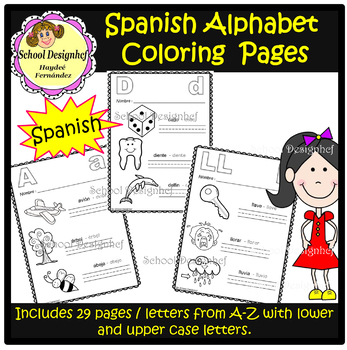 Spanish Alphabet Coloring Page Worksheets Teaching Resources Tpt
