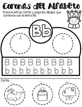 Spanish Alphabet Crowns/ Headbands - Coronas del Alfabeto corta y pega