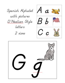 Spanish Alphabet D'Nealian with Pictures