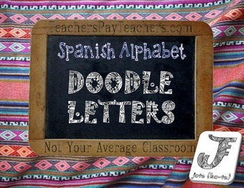 Spanish Alphabet Doodle Letters Coloring Sheets with Pronu