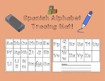 Spanish Alphabet Dry Erase Tracing Mat!