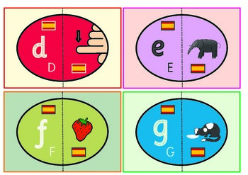 Spanish Alphabet Eggs Flashcards. Matching Game.