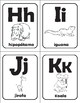 Spanish Alphabet Flashcards with Animal Illustrations and names! b/w