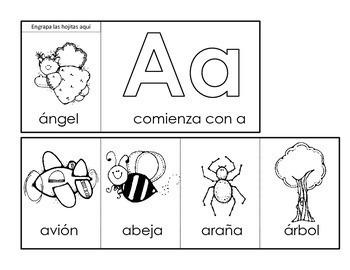Alphabet Beginning Sounds Flip Books in Spanish  Libritos del alfabeto
