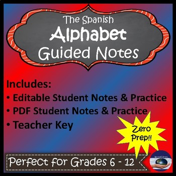 Spanish Alphabet - Guided Notes and Key