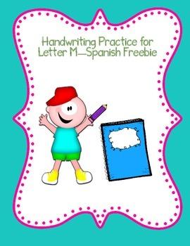 Spanish Alphabet Handwriting Practice Letter M