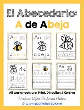 "Spanish Alphabet Handwriting Practice & Posters: ""A de Abeja"""