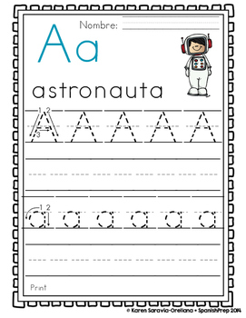 "Spanish Alphabet Handwriting Practice & Posters: ""A de Astronauta"" Boy Freebie"