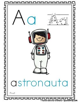 "Spanish Alphabet Handwriting Practice & Posters: ""A de Astronauta"" Boy Freebie"