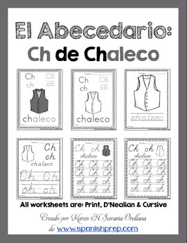 "Spanish Alphabet Handwriting Practice & Posters: ""Ch de Chaleco"""