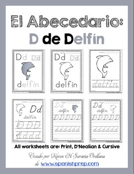 "Spanish Alphabet Handwriting Practice & Posters: ""D de Delfín"""