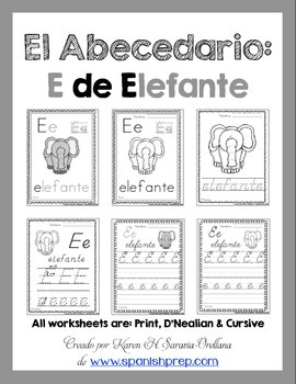 "Spanish Alphabet Handwriting Practice & Posters: ""E de Elefante"""