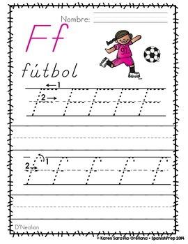 "Spanish Alphabet Handwriting Practice & Posters: ""F de Fútbol"""