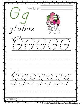 "Spanish Alphabet Handwriting Practice & Posters: ""G de Globos"""
