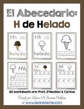 "Spanish Alphabet Handwriting Practice & Posters: ""H de Helado"""