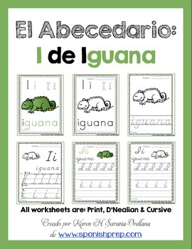 "Spanish Alphabet Handwriting Practice & Posters: ""I de Iguana"""