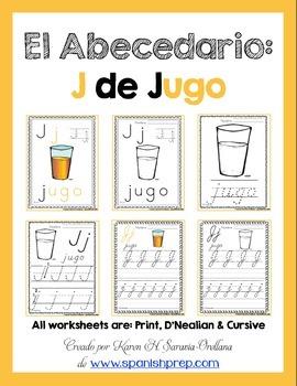 "Spanish Alphabet Handwriting Practice & Posters: ""J de Jugo"""