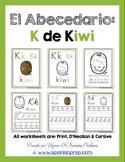 "Spanish Alphabet Handwriting Practice & Posters: ""K de Kiwi"""