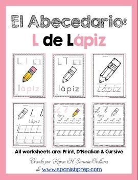 "Spanish Alphabet Handwriting Practice & Posters: ""L de Lápiz"""