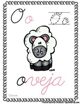"Spanish Alphabet Handwriting Practice & Posters: ""O de Oveja"""