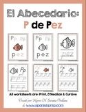 "Spanish Alphabet Handwriting Practice & Posters: ""P de Pez"""