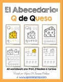 "Spanish Alphabet Handwriting Practice & Posters: ""Q de Queso"""